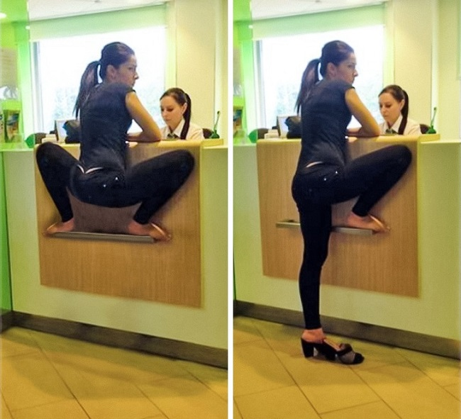 woman sitting like a frog