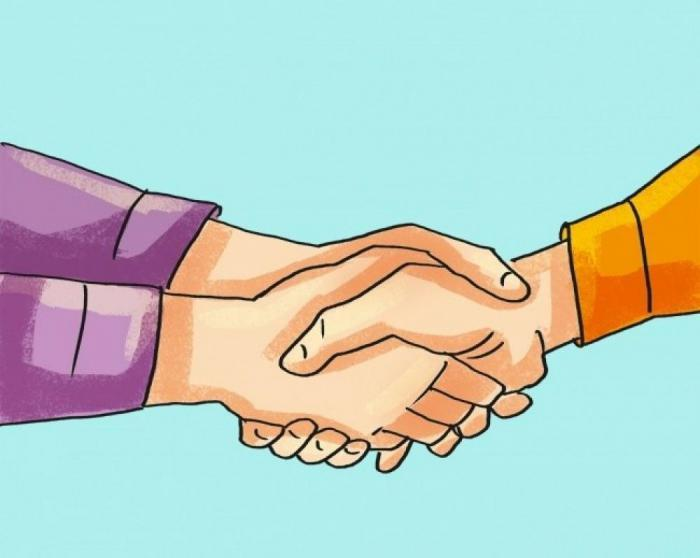 """Gloved"" handshake"